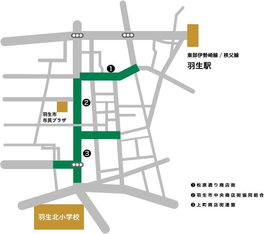 埼玉県羽生市の3つの商店街マップ
